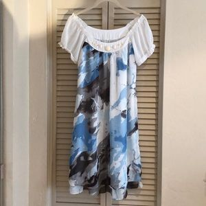 Silk blended light blue dress